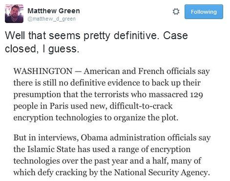 Blaming encryption