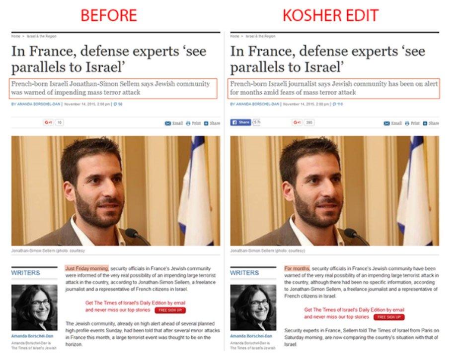 Israeli article edited on warning